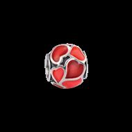 Silver enamel heart bead